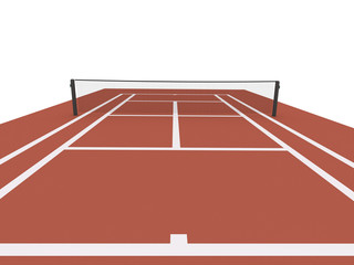 Red tennis court rendered
