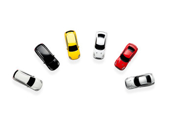 Sport toy cars in top view isolated