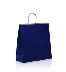 Blue empty paper bag isolated on white
