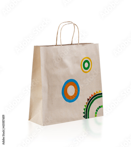 Empty paper bag isolated on white