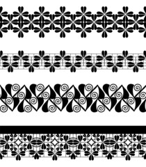 Set of seamless lace borders, vector.