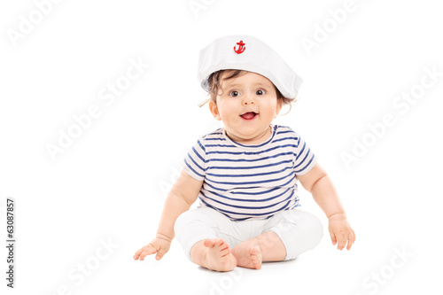 Cute baby girl with sailor hat