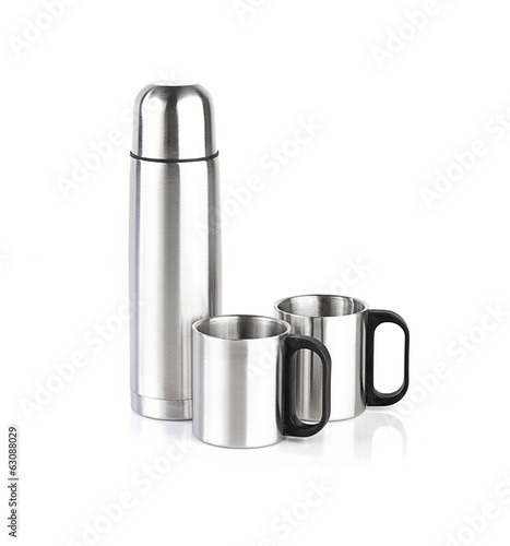 Thermos and cups isolated on white