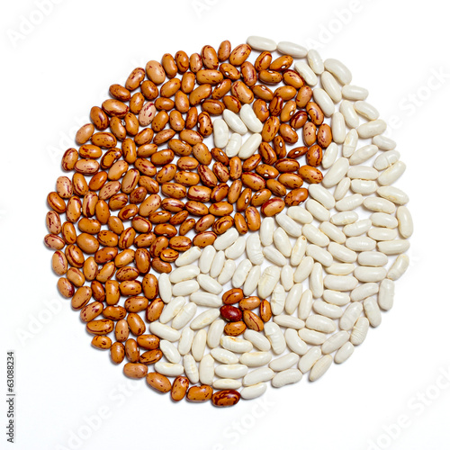 Yin Yang made with pinto and white beans