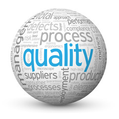 """QUALITY"" Tag Cloud Globe (total customer service satisfaction)"