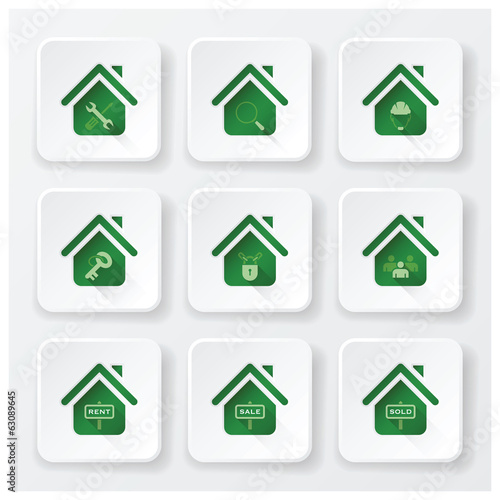 Real Estate House Flat Icons Set