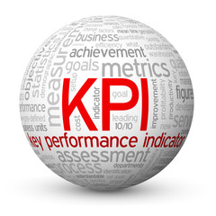 """KPI"" Tag Cloud Globe (key performance indicator targets data)"