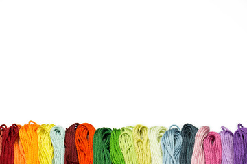 Multicolor sewing threads border