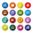 Shopping flat colored buttons set 02