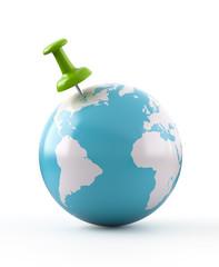 Green Thumbtack on Globe