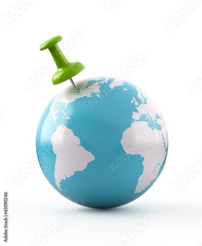 Green Thumbtack on Globe