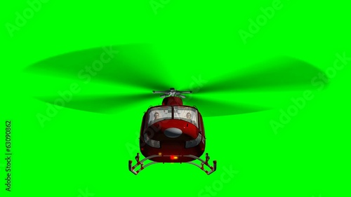 Helicopter Bell UH1 Huey - Air Rescue in fly - green screen