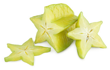 Carambola or starfruit with slices isolated on white background