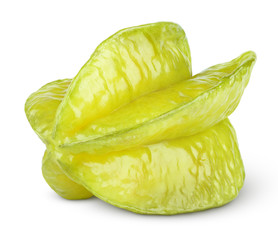 Carambola or starfruit isolated on white with clipping path