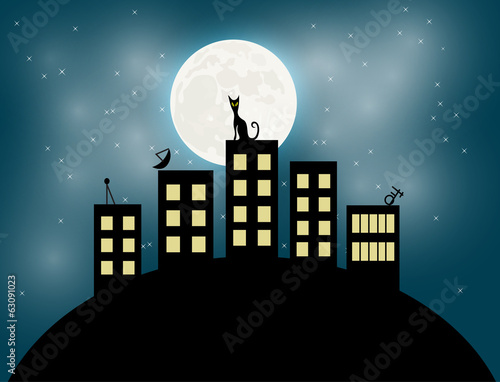 Cat sitting on a roof looking to the moon vector