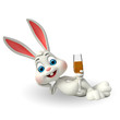 Cute Easter Bunny with wine glass