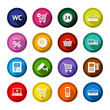 Shopping flat colored buttons set 03