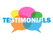"""TESTIMONIALS"" (speech bubbles balloons user satisfaction like)"
