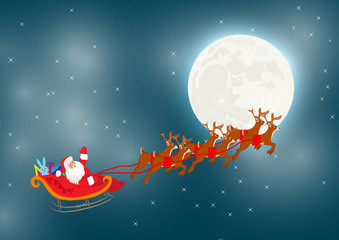Deers Santa Christmas illustration vector