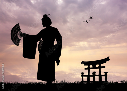 Geisha at sunset