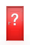 Closed Red Door with question mark
