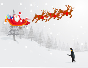 Deers Santa Christmas illustration vector