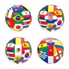 3D render of 4 soccer football2014 FIFA world cup