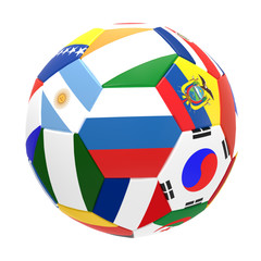 3D render of soccer football with drop shadow