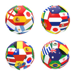 3D render of 4 soccer football group B on 2014 FIFA world cup