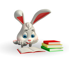 Cute Easter Bunny with reading a book
