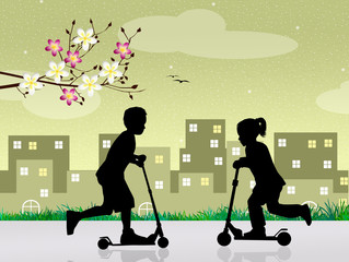 children on a scooter