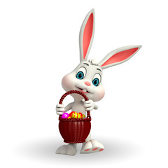 Cute Easter Bunny with eggs basket