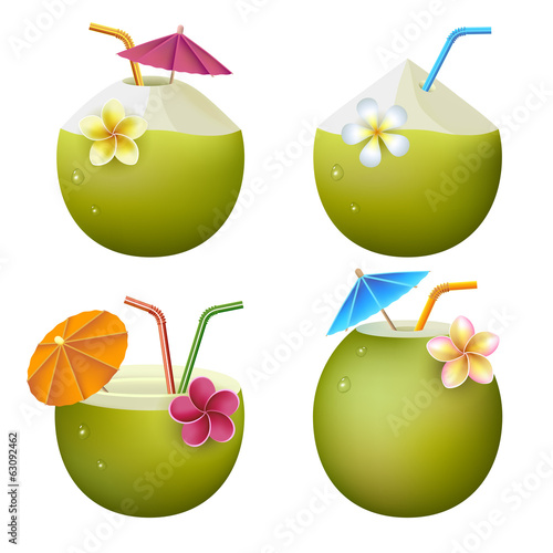 Exotic coconut cocktails on white background