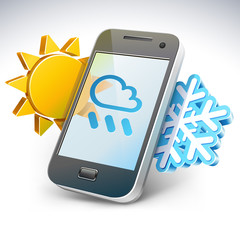 Weather on smartphone - illustration