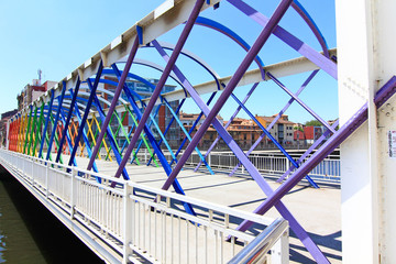Modern bridge of iron, painted colors