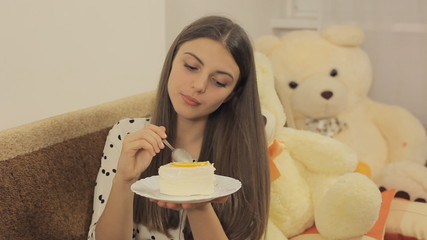 Girl eats cake and enjoy it Full HD 1080 NTSC