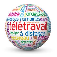 """Globe - Nuage de Tags """"TELETRAVAIL"""" (cv télétravail à domicile)"""