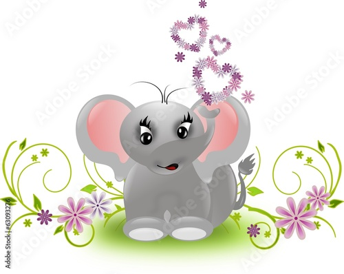 Small elephant with floral hearts