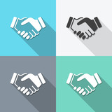 Fototapety flat handshake backgrounds