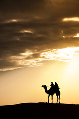 A desert local walks with camel through Thar Desert