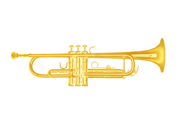Gold trumpet instrument on white background.