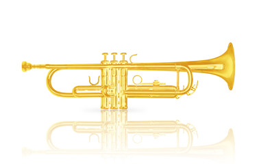 Gold trumpet instrument on white background.