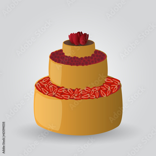layer cake with strawberries and cherries eps10