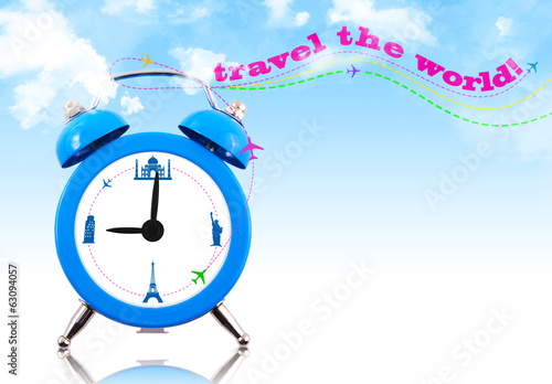 Travel the world! Clock with landmarks and sky