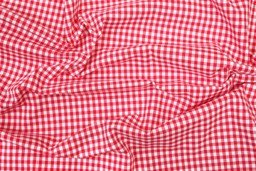 Wrinkly red and white plaid cloth