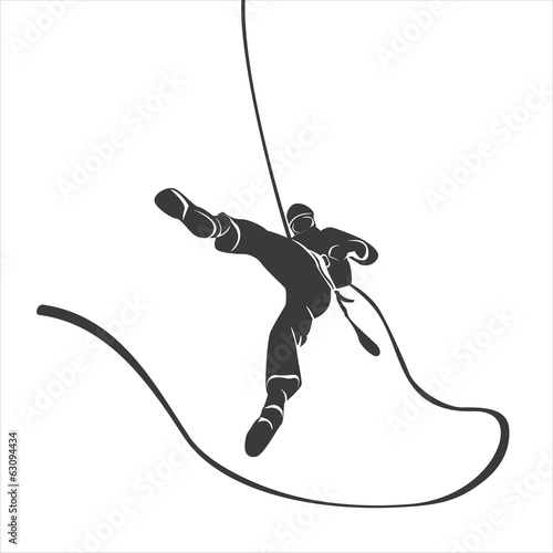 Silhouette of a climber abseil. Vector illustration