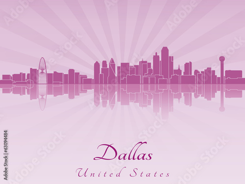 Dallas skyline in purple radiant orchid