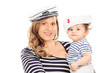 Mother and her baby daughter in sailor uniform
