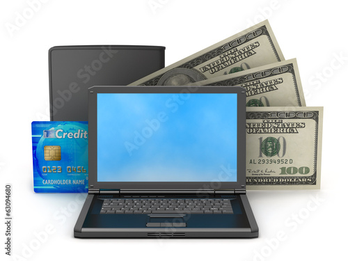 Dollars, laptop, leather wallet and credit card on white backgro