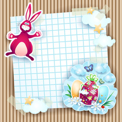 Easter card with bunny and eggs on cardboard background